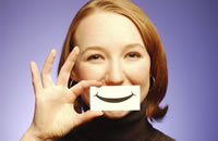 lady with a smiling postit over her mouth